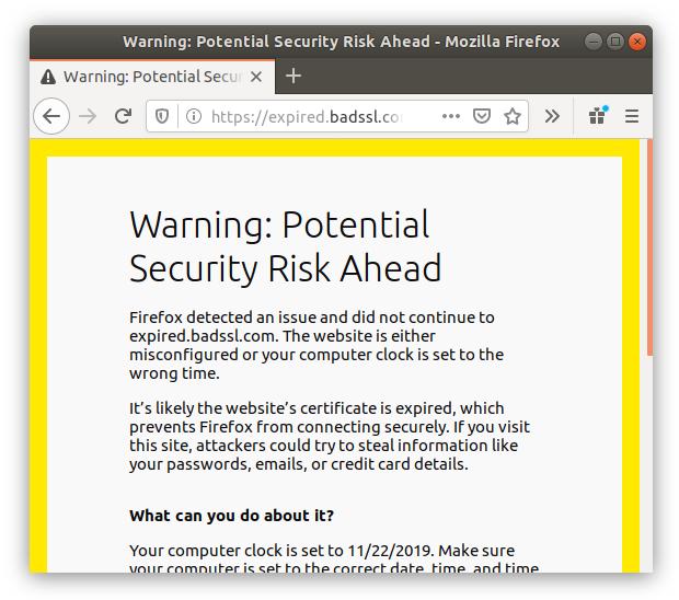 Попытка зайти на сайт с устаревшим SSL-сертификатом в браузере Firefox